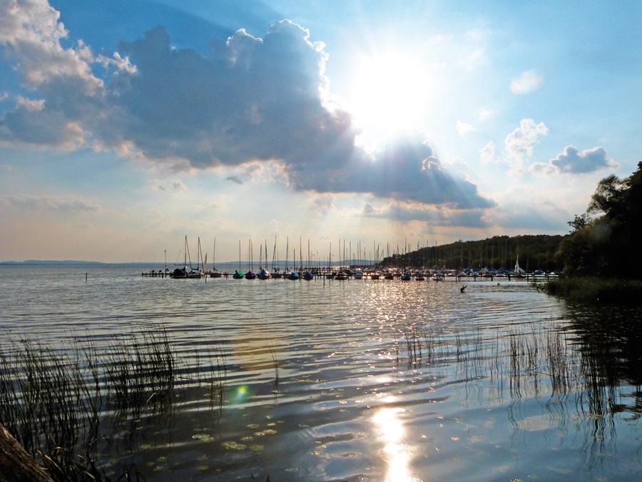 Blick auf die Stege in Mardorf am Steinhuder Meer